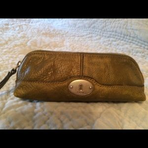Fossil Leather Cosmetic Pouch